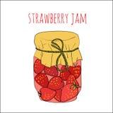 在白色草莓酱隔绝的瓶子 免版税库存照片