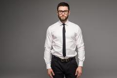 在白色衬衣和领带身分的英俊的年轻在灰色背景的商人和玻璃 免版税库存照片