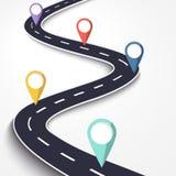 在白色被隔绝的背景的弯曲道路 与别针尖的路线地点infographic模板 皇族释放例证