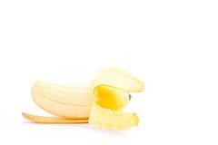 在白色被隔绝的背景健康Pisang Mas香蕉果子食物的被剥皮的蛋香蕉 免版税库存图片