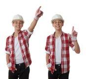 在白色被隔绝的背景的逗人喜爱的少年男孩 库存照片