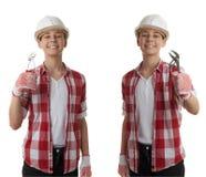 在白色被隔绝的背景的逗人喜爱的少年男孩 免版税库存照片