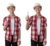 在白色被隔绝的背景的逗人喜爱的少年男孩 库存图片