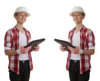 在白色被隔绝的背景的逗人喜爱的少年男孩 免版税库存图片