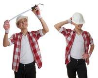 在白色被隔绝的背景的逗人喜爱的少年男孩 免版税图库摄影