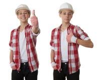 在白色被隔绝的背景的逗人喜爱的少年男孩 图库摄影