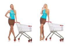 在白色购物概念的妇女隔绝的 免版税图库摄影
