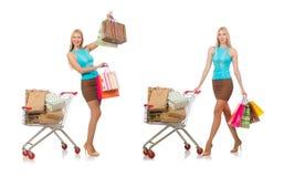 在白色购物概念的妇女隔绝的 免版税库存图片