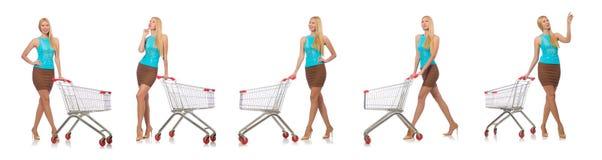 在白色购物概念的妇女隔绝的 免版税库存照片