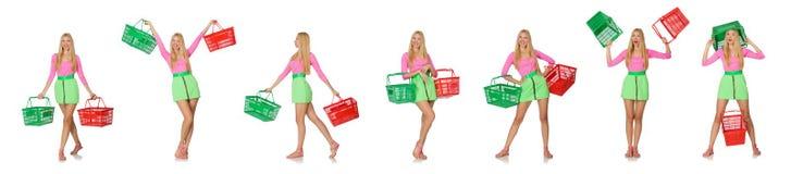 在白色购物概念的妇女隔绝的 库存图片