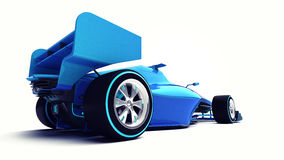 在白色透视后面视图隔绝的蓝色3D方程式赛车 免版税图库摄影