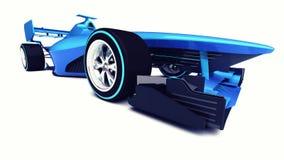 在白色透视正面图隔绝的蓝色3D方程式赛车 免版税库存图片
