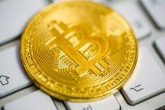 在白色键盘,选择聚焦的金黄bitcoin 免版税库存图片
