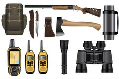 在白色隔绝的一套现实狩猎设备成套工具 免版税库存照片