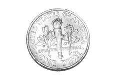 在白色隔绝的一角钱硬币 免版税库存图片