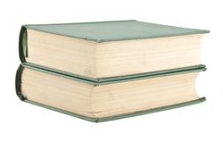 在白色隔绝的两本老绿色书 免版税库存照片