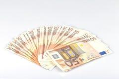 在白色隔绝的五十笔记的一千欧元 库存图片