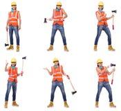 在白色隔绝的产业工人 免版税图库摄影