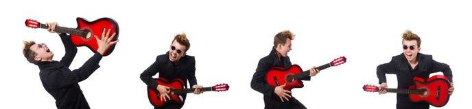 在白色隔绝的人吉他演奏员 免版税库存图片