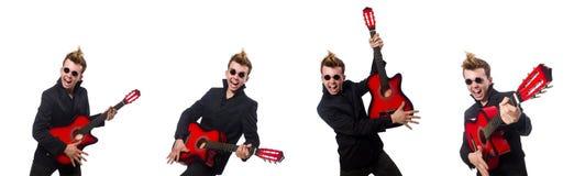 在白色隔绝的人吉他演奏员 库存照片