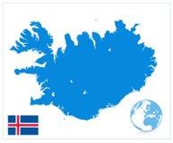 在白色隔绝的冰岛地图 没有文本 免版税库存照片