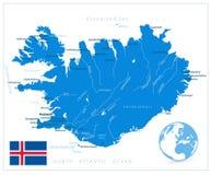 在白色隔绝的冰岛地图 库存图片