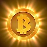 在白色隔绝的发光的金黄bitcoin Blockchain概念 免版税库存照片