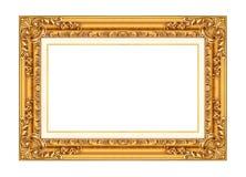在白色隔绝的古色古香的金黄框架 库存照片