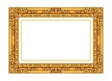 在白色隔绝的古色古香的金黄框架 图库摄影