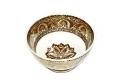 在白色隔绝的古色古香的陶瓷碗筷 库存图片