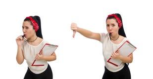 在白色隔绝的可爱的女性健身教练员 免版税库存图片
