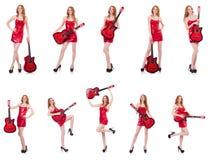 在白色隔绝的吉他演奏员 免版税库存照片
