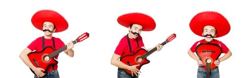 在白色隔绝的墨西哥吉他演奏员 免版税库存照片