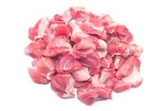 在白色隔绝的墩牛肉的切好的猪肉 图库摄影