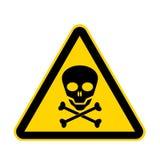 在白色隔绝的头骨黄色危险标志与裁减路线 向量例证