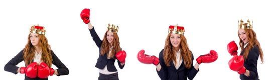 在白色隔绝的女王/王后拳击手女实业家 库存图片