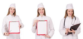 在白色隔绝的妇女医生 库存照片