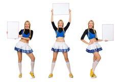 在白色隔绝的妇女啦啦队员 免版税库存照片
