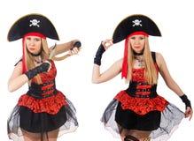 在白色隔绝的妇女海盗 库存照片
