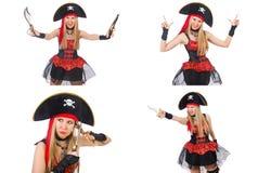 在白色隔绝的妇女海盗 免版税库存照片