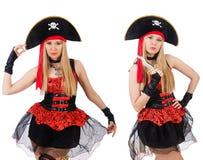 在白色隔绝的妇女海盗 免版税库存图片