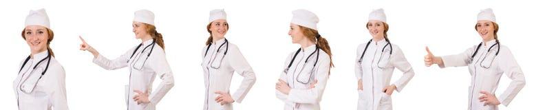 在白色隔绝的少妇医生 库存照片