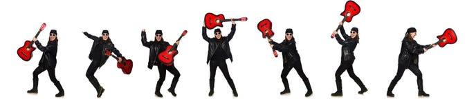 在白色隔绝的年轻吉他演奏员 免版税库存照片