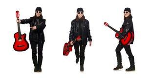 在白色隔绝的年轻吉他演奏员 库存照片