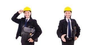 在白色隔绝的年轻建筑建筑师 免版税库存图片