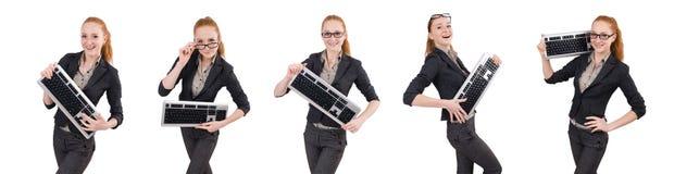 在白色隔绝的年轻成功的办公室工作者女性 免版税库存图片