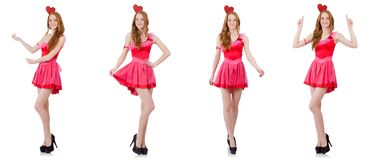 在白色隔绝的微型桃红色礼服的相当年轻模型 库存图片