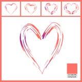 在白色隔绝的心脏的抽象画笔样式在居住的珊瑚颜色 皇族释放例证