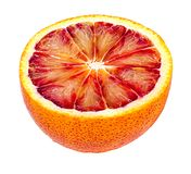 在白色隔绝的成熟红色桔子 库存图片