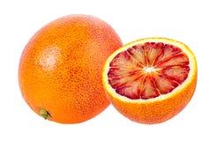 在白色隔绝的成熟红色桔子 免版税库存图片